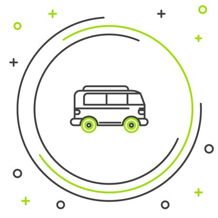 Black and green line Retro minivan icon isolated on white background. Old retro classic traveling van. Colorful outline concept. Vector Illustration