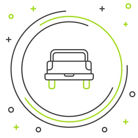 Black and green line Pickup truck icon isolated on white background. Colorful outline concept. Vector Illustration Stock Vector - 133320100