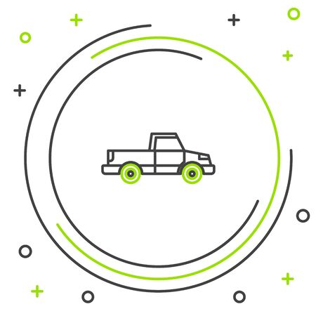 Black and green line Pickup truck icon isolated on white background. Colorful outline concept. Vector Illustration Stock Vector - 133320101