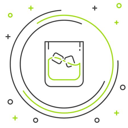 Black and green line Glass of whiskey and ice cubes icon isolated on white background. Colorful outline concept. Vector Illustration Ilustração