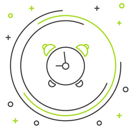 Black and green line Alarm clock icon isolated on white background. Wake up, get up concept. Time sign. Colorful outline concept. Vector Illustration Ilustrace