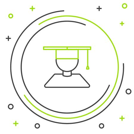 Black and green line Graduate and graduation cap icon isolated on white background. Colorful outline concept. Vector Illustration  イラスト・ベクター素材