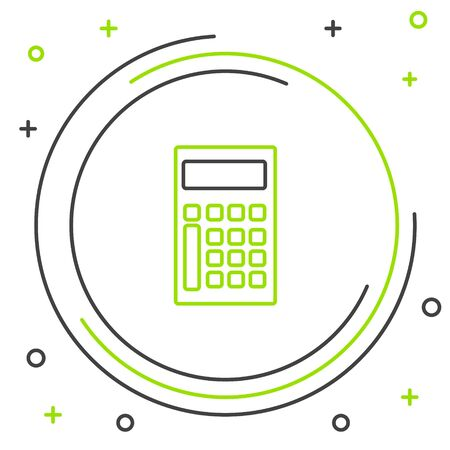 Black and green line Calculator icon isolated on white background. Accounting symbol. Business calculations mathematics education and finance. Colorful outline concept. Vector Illustration