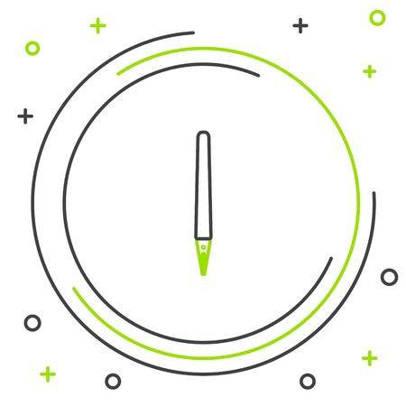 Black and green line Pen icon isolated on white background. Colorful outline concept. Vector Illustration Stockfoto - 133320282