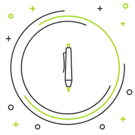 Black and green line Pen icon isolated on white background. Colorful outline concept. Vector Illustration Stock Illustratie