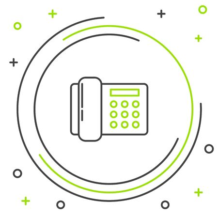 Black and green line Telephone icon isolated on white background. Landline phone. Colorful outline concept. Vector Illustration