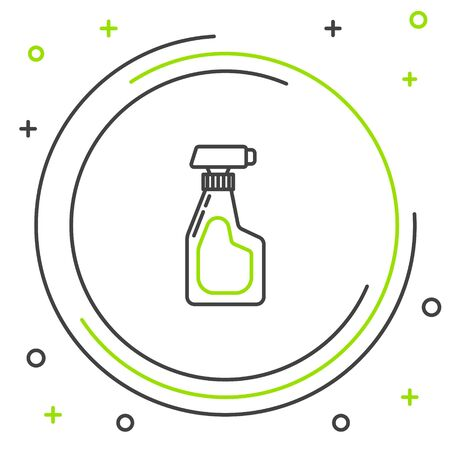 Black and green line Cleaning spray bottle with detergent liquid icon isolated on white background. Colorful outline concept. Vector Illustration