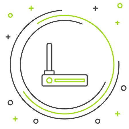 Black and green line Router and wifi signal symbol icon isolated on white background.