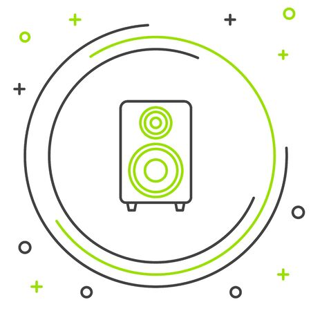 Black and green line Stereo speaker icon isolated on white background. Sound system speakers. Music icon. Musical column speaker bass equipment. Colorful outline concept. Vector Illustration