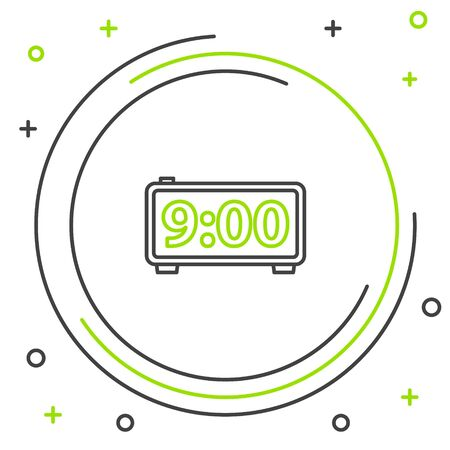 Black and green line Digital alarm clock icon isolated on white background. Electronic watch alarm clock. Time icon. Colorful outline concept. Vector Illustration
