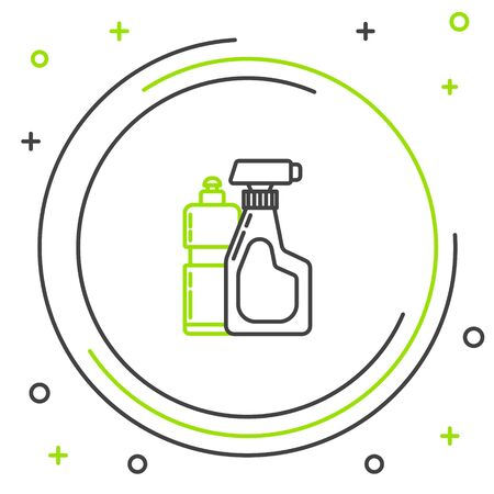Black and green line Plastic bottles for liquid laundry detergent, bleach, dishwashing liquid or another cleaning agent icon isolated on white background. Colorful outline concept. Vector Illustration Çizim