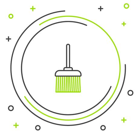 Black and green line Handle broom icon isolated on white background. Cleaning service concept. Colorful outline concept. Vector Illustration