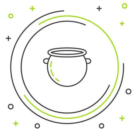 Icona del calderone della strega di Halloween della linea nera e verde isolata su priorità bassa bianca. Buona festa di Halloween. Concetto di contorno colorato. illustrazione vettoriale Vettoriali