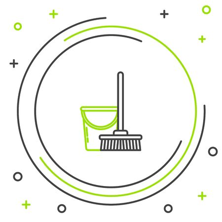 Black and green line Mop and bucket icon isolated on white background. Cleaning service concept. Colorful outline concept. Vector Illustration Ilustracja