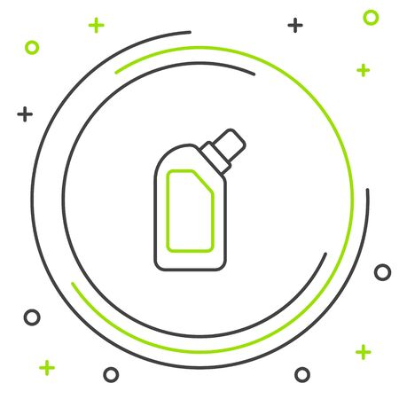 Black and green line Plastic bottle for liquid laundry detergent, bleach, dishwashing liquid or another cleaning agent icon isolated on white background. Colorful outline concept. Vector Illustration