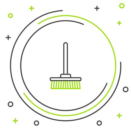 Black and green line Mop icon isolated on white background. Cleaning service concept. Colorful outline concept. Vector Illustration