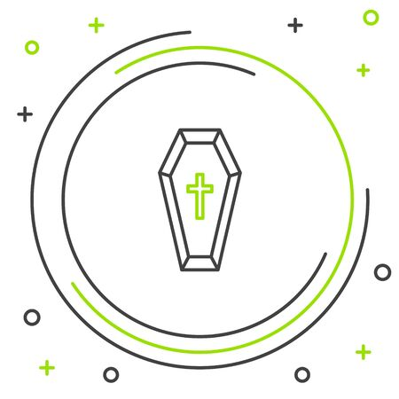 Black and green line Coffin with christian cross icon isolated on white background. Happy Halloween party. Colorful outline concept. Vector Illustration Ilustração