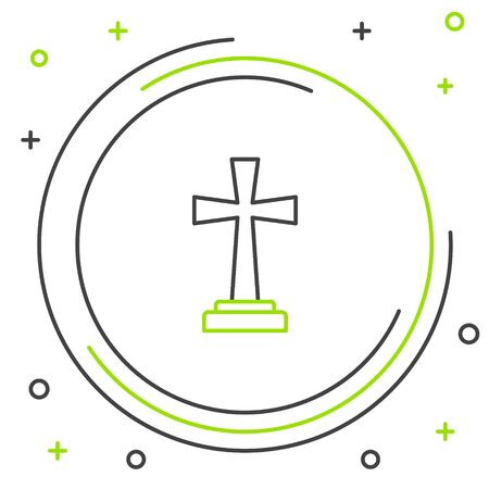 Black and green line Tombstone with cross icon isolated on white background. Grave icon. Colorful outline concept. Vector Illustration Ilustração