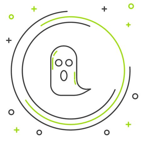 Black and green line Ghost icon isolated on white background. Happy Halloween party. Colorful outline concept. Vector Illustration