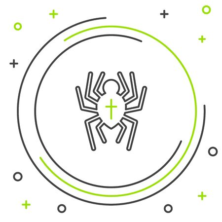Black and green line Spider icon isolated on white background. Happy Halloween party. Colorful outline concept. Vector Illustration Ilustração