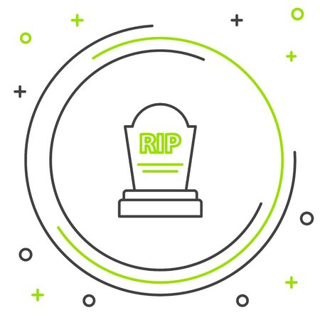 Black and green line Tombstone with RIP written on it icon isolated on white background. Grave icon. Colorful outline concept. Vector Illustration