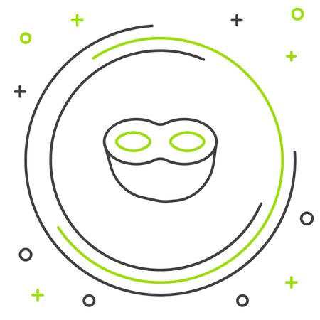 Black and green line Festive mask icon isolated on white background. Colorful outline concept. Vector Illustration 일러스트