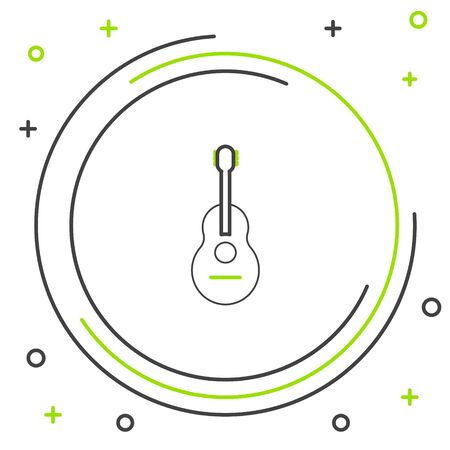 Black and green line Guitar icon isolated on white background. Acoustic guitar. String musical instrument. Colorful outline concept. Vector Illustration Ilustração