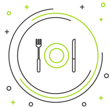 Black and green line Plate, fork and knife icon isolated on white background. Cutlery symbol. Restaurant sign. Colorful outline concept. Vector Illustration