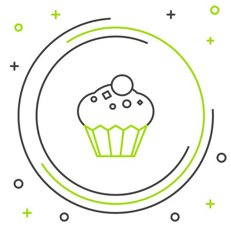Black and green line Muffin icon isolated on white background. Colorful outline concept. Vector Illustration Archivio Fotografico - 133341869