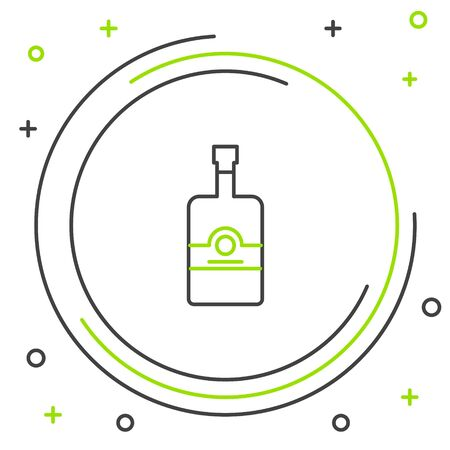 Black and green line Whiskey bottle icon isolated on white background. Colorful outline concept. Vector Illustration