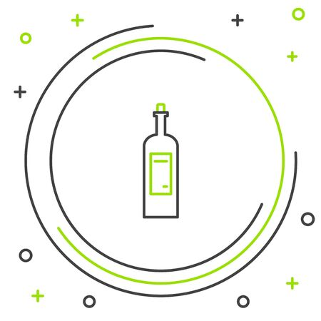 Black and green line Bottle of wine icon isolated on white background. Colorful outline concept. Vector Illustration