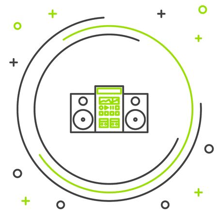 Black and green line Home stereo with two speakers icon isolated on white background. Music system. Colorful outline concept. Vector Illustration