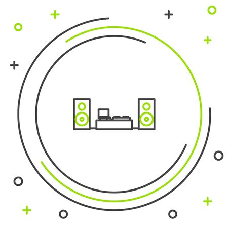 Black and green line Home stereo with two speaker s icon isolated on white background. Music system. Colorful outline concept. Vector Illustration
