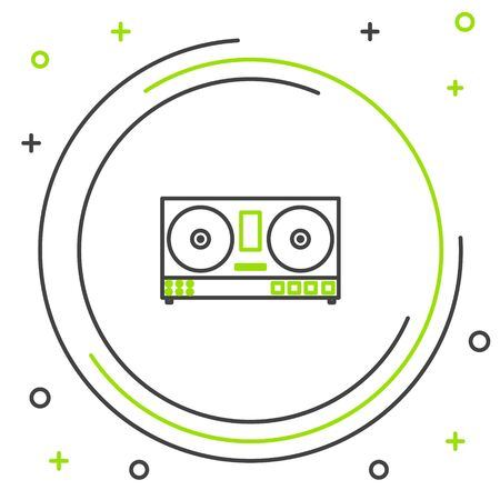 Black and green line DJ remote for playing and mixing music icon isolated on white background. DJ mixer complete with vinyl player and remote control. Colorful outline concept. Vector Illustration Illusztráció