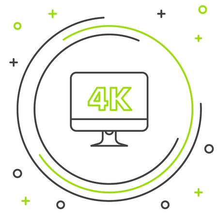 Black and green line Computer PC monitor display with 4k video technology icon isolated on white background. Colorful outline concept. Vector Illustration