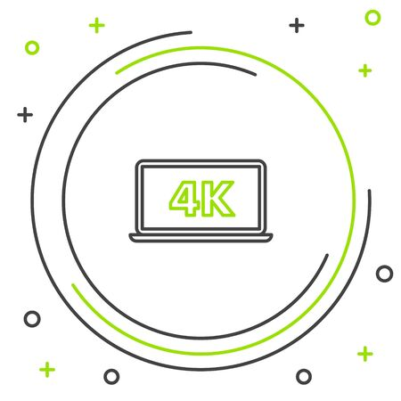 Black and green line Laptop screen with 4k video technology icon isolated on white background. Colorful outline concept. Vector Illustration Ilustrace