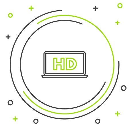 Black and green line Laptop screen with HD video technology icon isolated on white background. Colorful outline concept. Vector Illustration