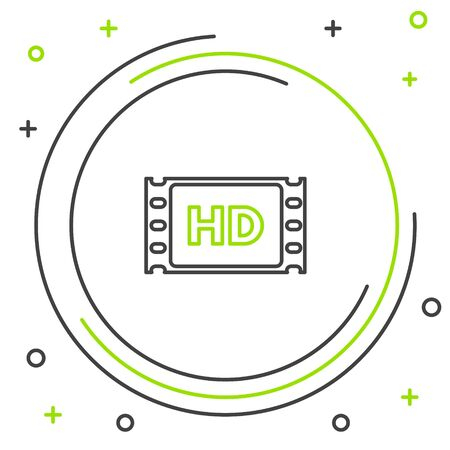 Black and green line 4k movie, tape, frame icon isolated on white background. Colorful outline concept. Vector Illustration Ilustrace