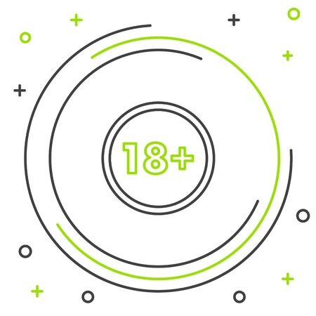 Black and green line Plus 18 movie icon isolated on white background. Adult content. Under 18 years sign. Colorful outline concept. Vector Illustration Stock Illustratie