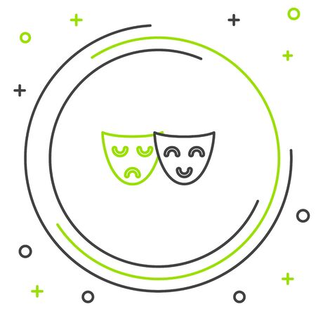 Black and green line Comedy and tragedy theatrical masks icon isolated on white background. Colorful outline concept. Vector Illustration