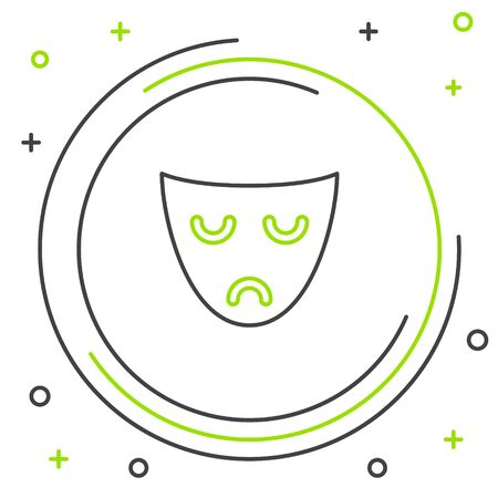 Black and green line Drama theatrical mask icon isolated on white background. Colorful outline concept. Vector Illustration