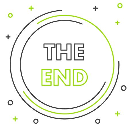 Black and green line The End handwritten inscription icon isolated on white background. Closing movie frame. Movie ending screen. Colorful outline concept. Vector Illustration