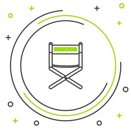 Black and green line Director movie chair icon isolated on white background. Film industry. Colorful outline concept. Vector Illustration