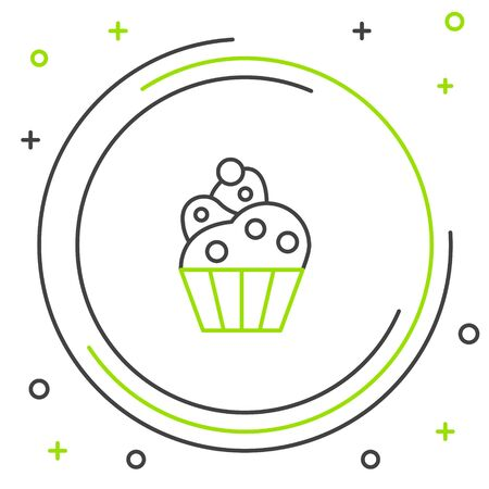 Black and green line Cupcake icon isolated on white background. Colorful outline concept. Vector Illustration Archivio Fotografico - 133341391