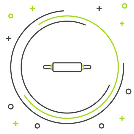 Black and green line Rolling pin icon isolated on white background. Colorful outline concept. Vector Illustration Imagens - 133341396