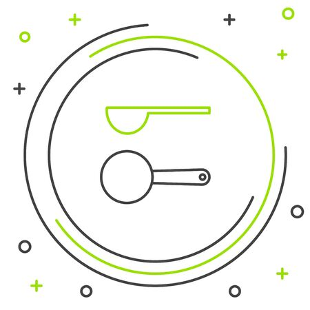 Black and green line Measuring spoon icon isolated on white background. Colorful outline concept. Vector Illustration