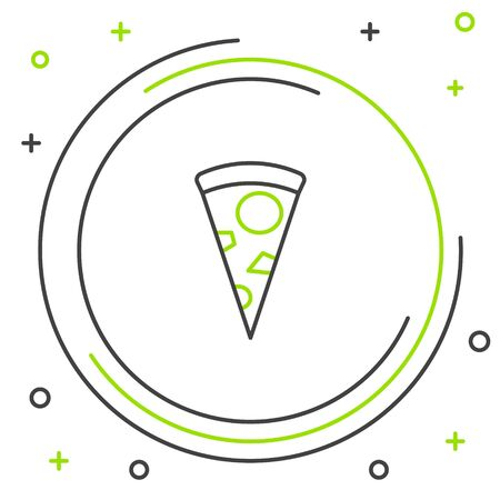 Black and green line Slice of pizza icon isolated on white background. Colorful outline concept. Vector Illustration