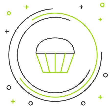 Black and green line Muffin icon isolated on white background. Colorful outline concept. Vector Illustration Archivio Fotografico - 133341471