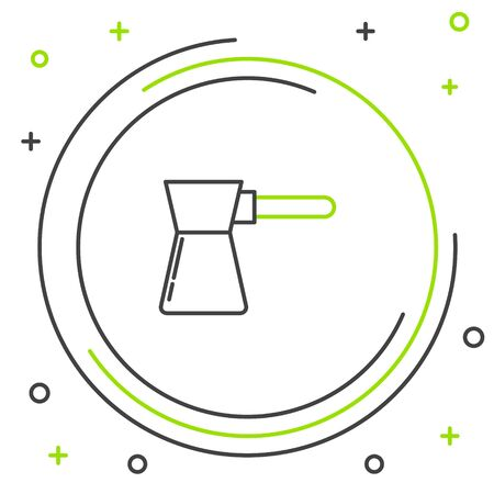 Black and green line Coffee turk icon isolated on white background. Colorful outline concept. Vector Illustration