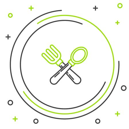 Black and green line Crossed fork and spoon icon isolated on white background. Cooking utensil. Cutlery sign. Colorful outline concept. Vector Illustration